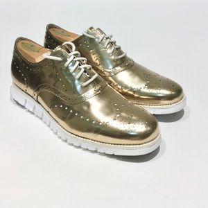 Mens COLE HAAN ZEROGRAND LTD ED Gold Wingtip Shoes